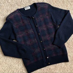 EUC Kasper classic plaid navy sweater jacket